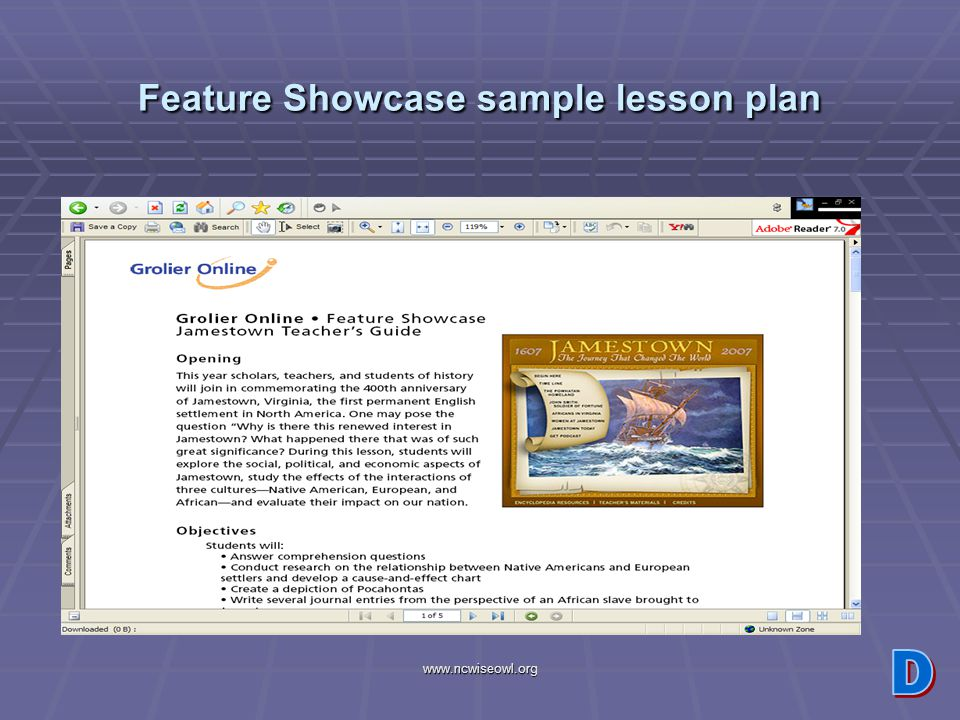www.ncwiseowl.org Feature Showcase sample lesson plan