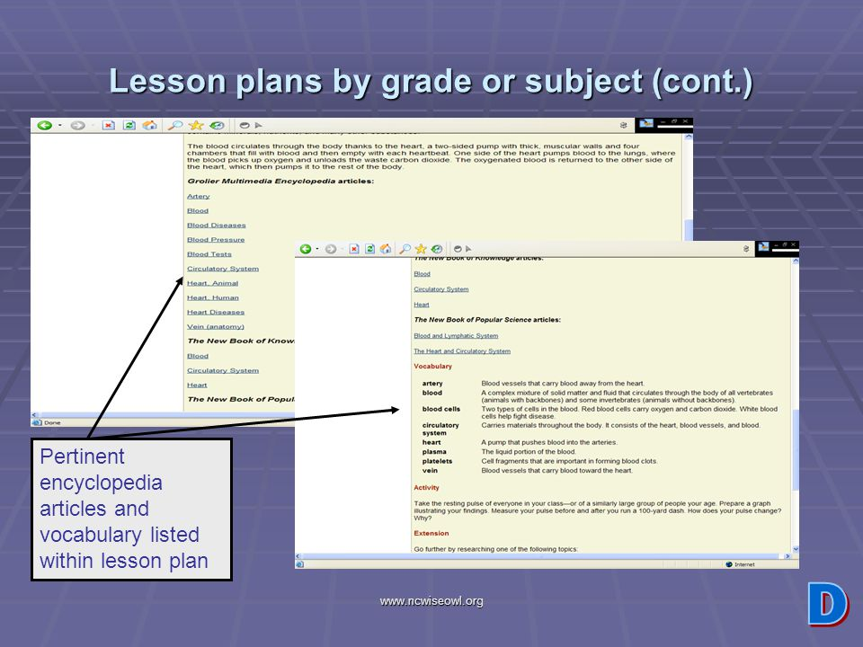 www.ncwiseowl.org Lesson plans by grade or subject (cont.) Pertinent encyclopedia articles and vocabulary listed within lesson plan