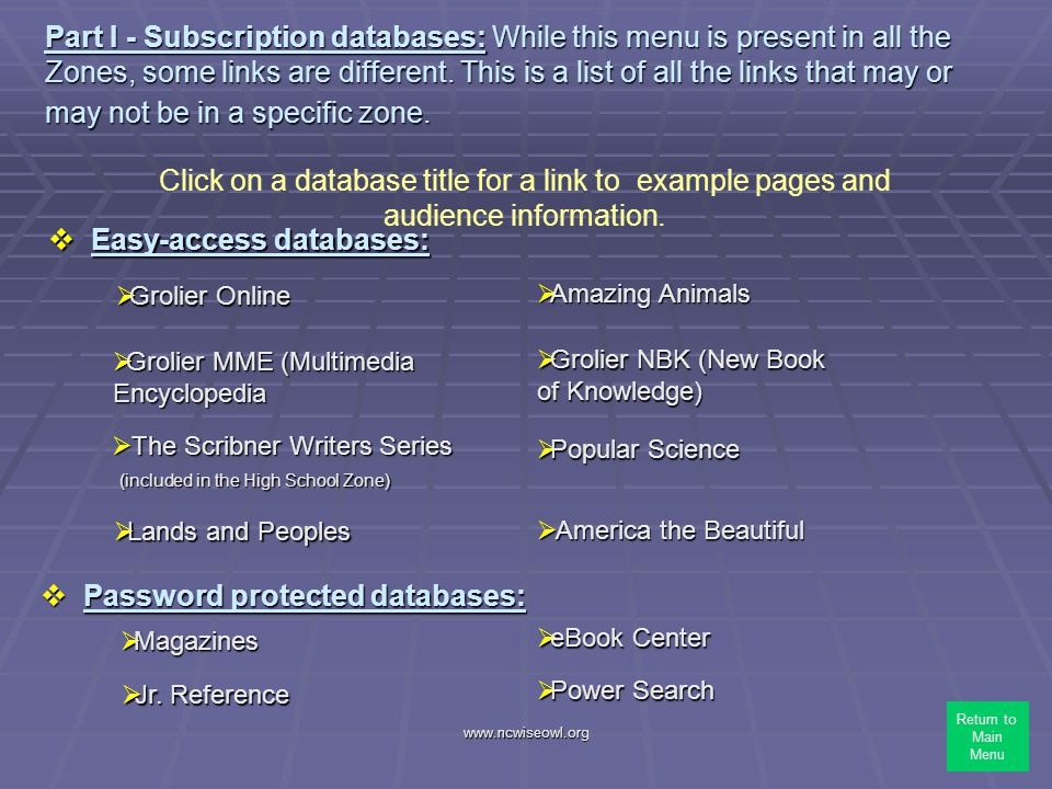 www.ncwiseowl.org Part I - Subscription databases: While this menu is present in all the Zones, some links are different. This is a list of all the li