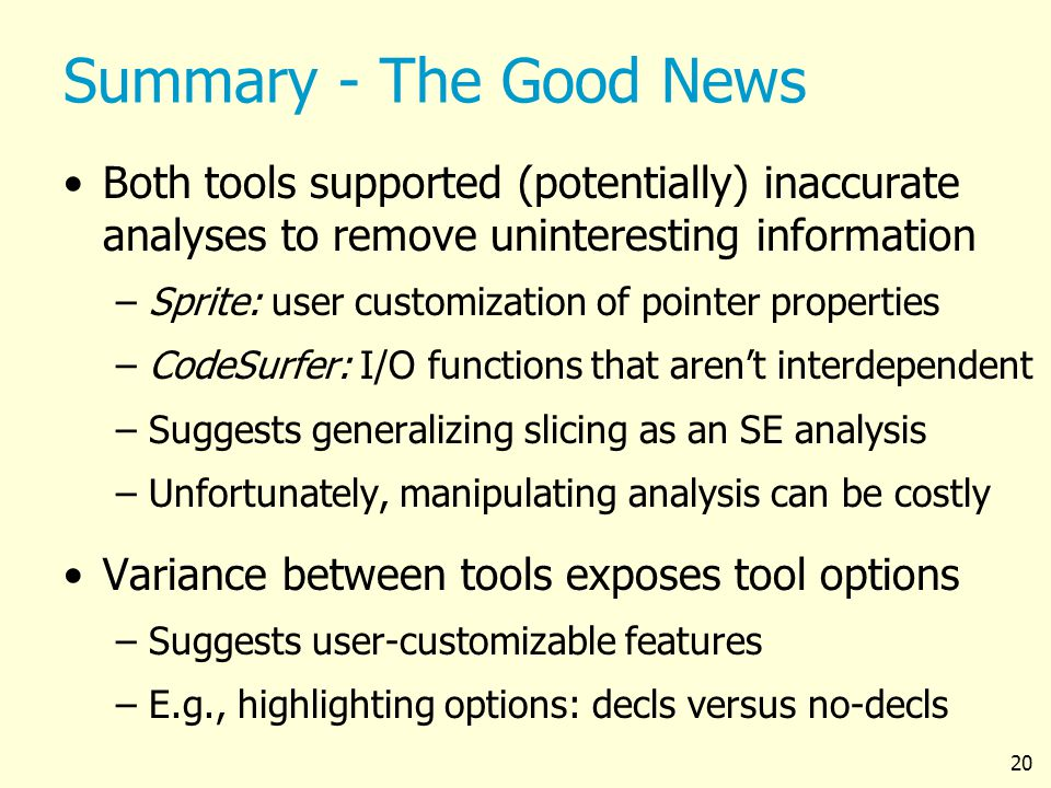 20 Summary - The Good News Both tools supported (potentially) inaccurate analyses to remove uninteresting information –Sprite: user customization of p