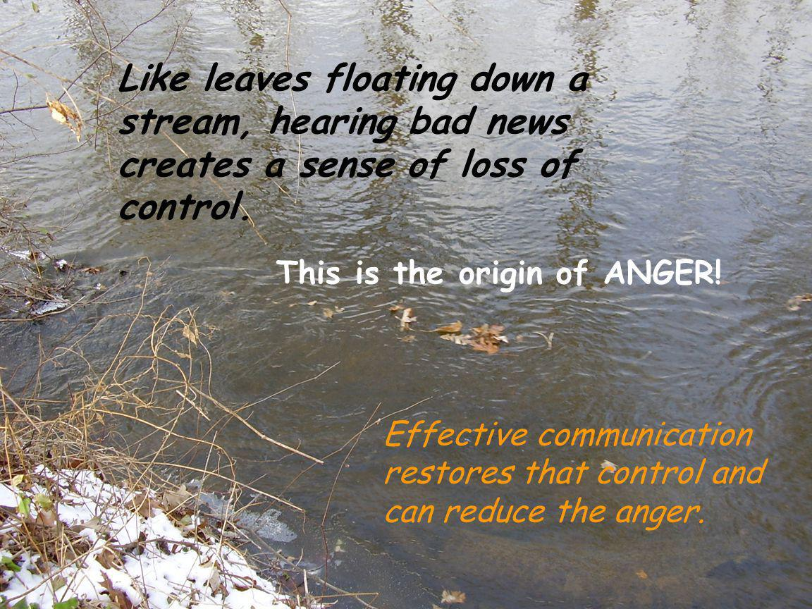Like leaves floating down a stream, hearing bad news creates a sense of loss of control. Effective communication restores that control and can reduce