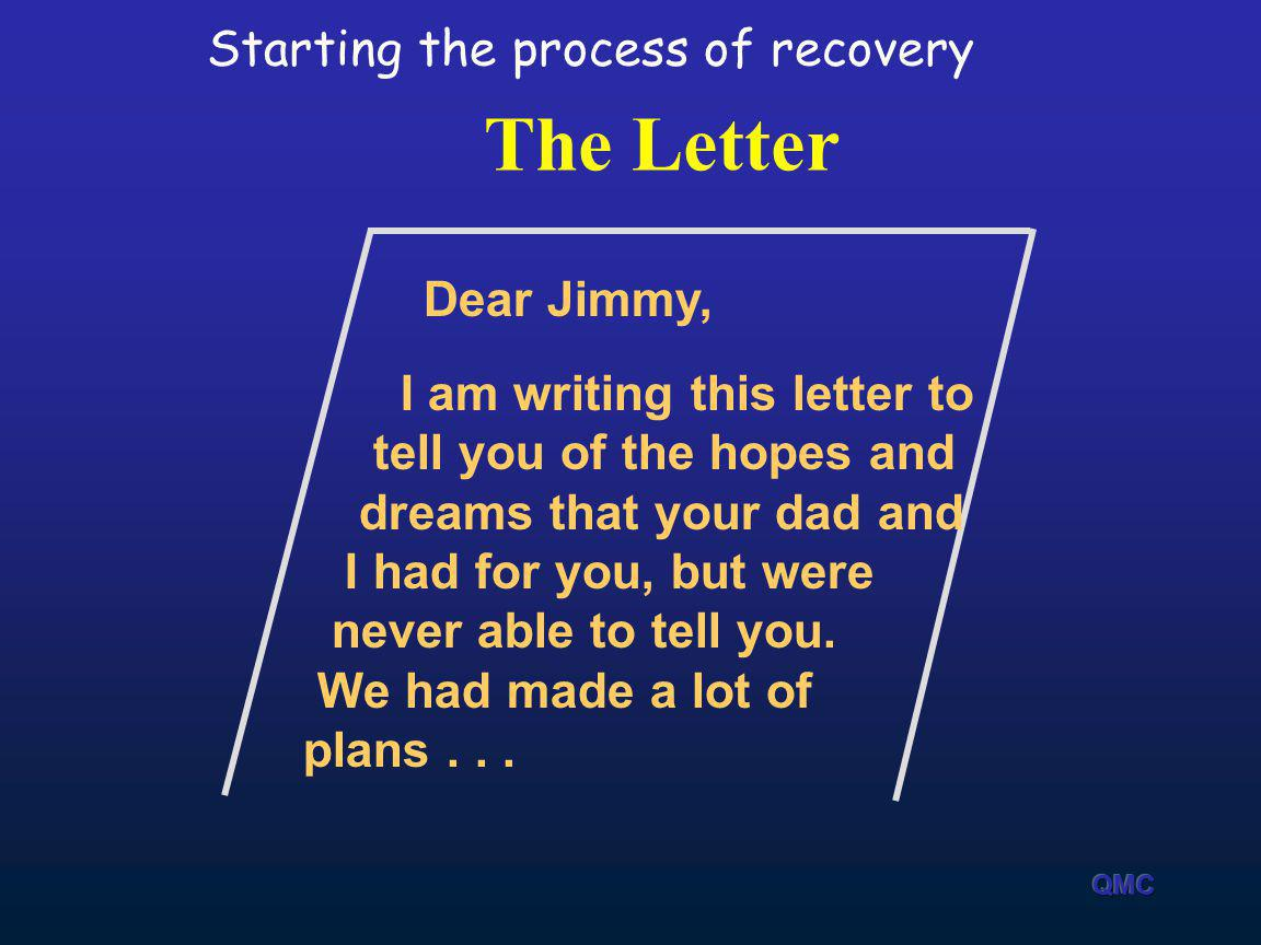The Letter Dear Jimmy, I am writing this letter to tell you of the hopes and dreams that your dad and I had for you, but were never able to tell you.