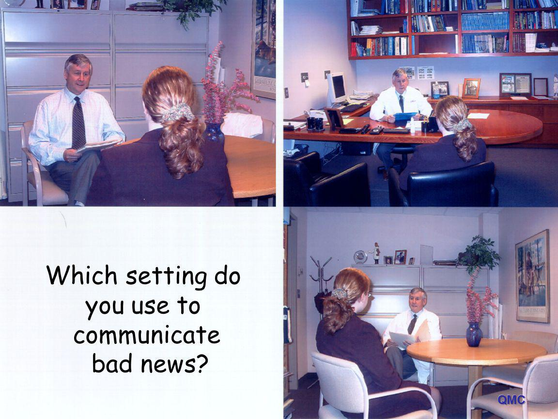 Which setting do you use to communicate bad news?