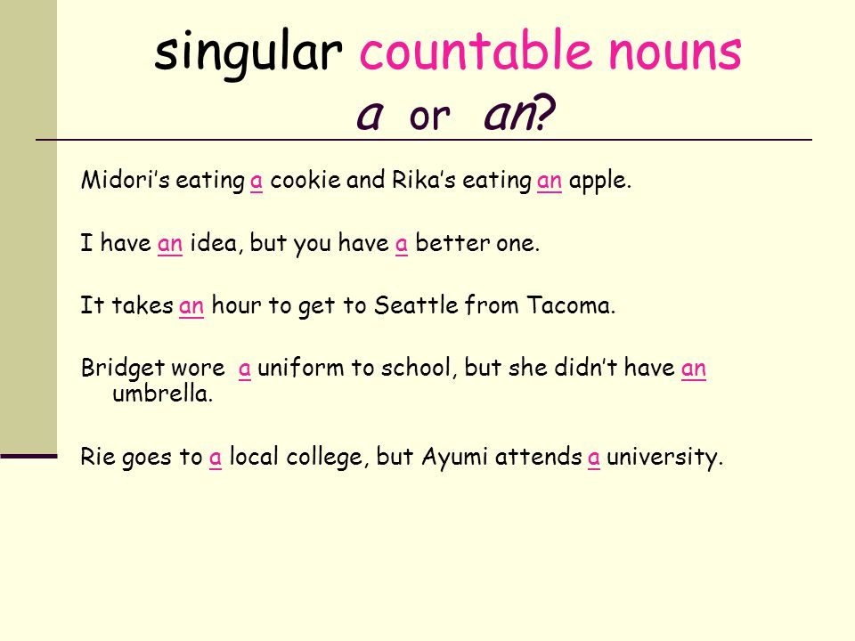singular countable nouns a or an? Midoris eating ___ cookie and Rikas eating ___ apple. I have ___ idea, but you have ___ better one. It takes ___ hou