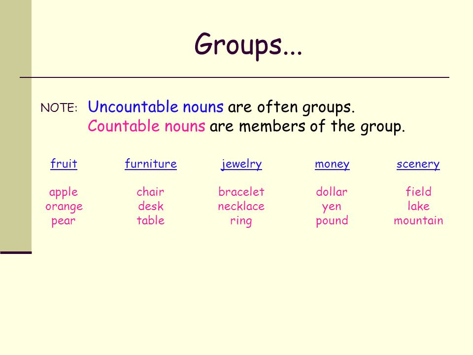 Put these nouns into groups.