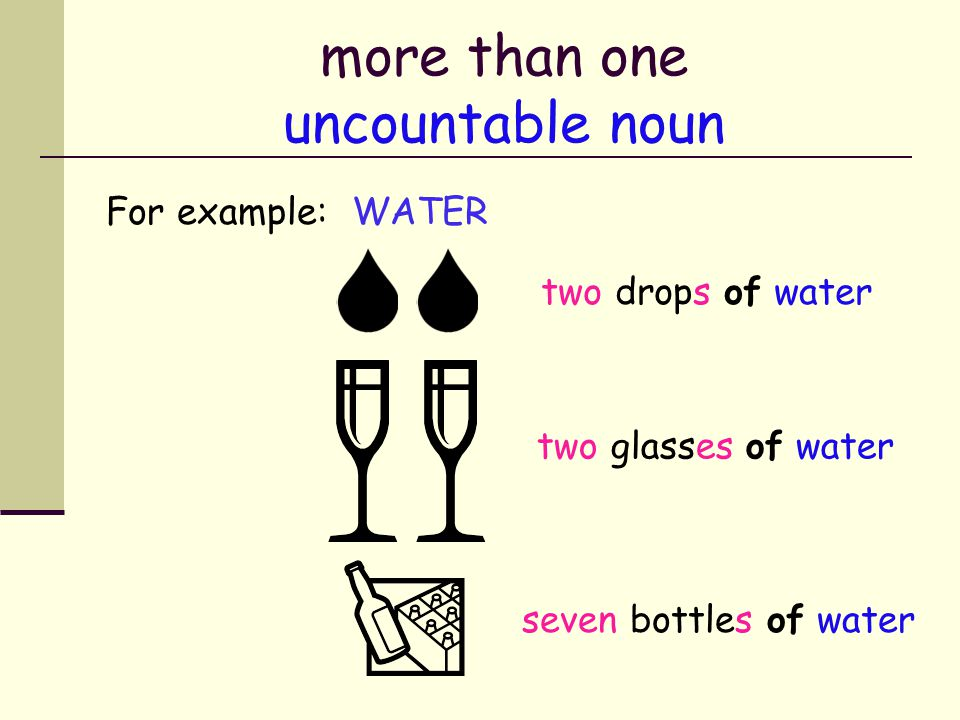 more than one uncountable noun Uncountable nouns are not plural, so how do we talk about more than one.