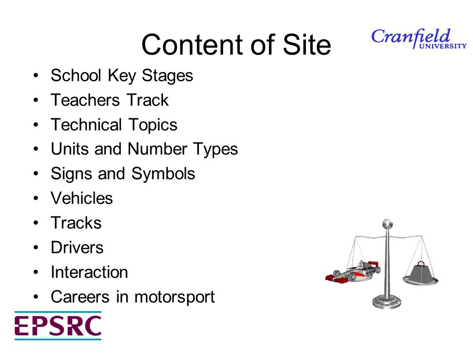 Content of Site School Key Stages Teachers Track Technical Topics Units and Number Types Signs and Symbols Vehicles Tracks Drivers Interaction Careers in motorsport
