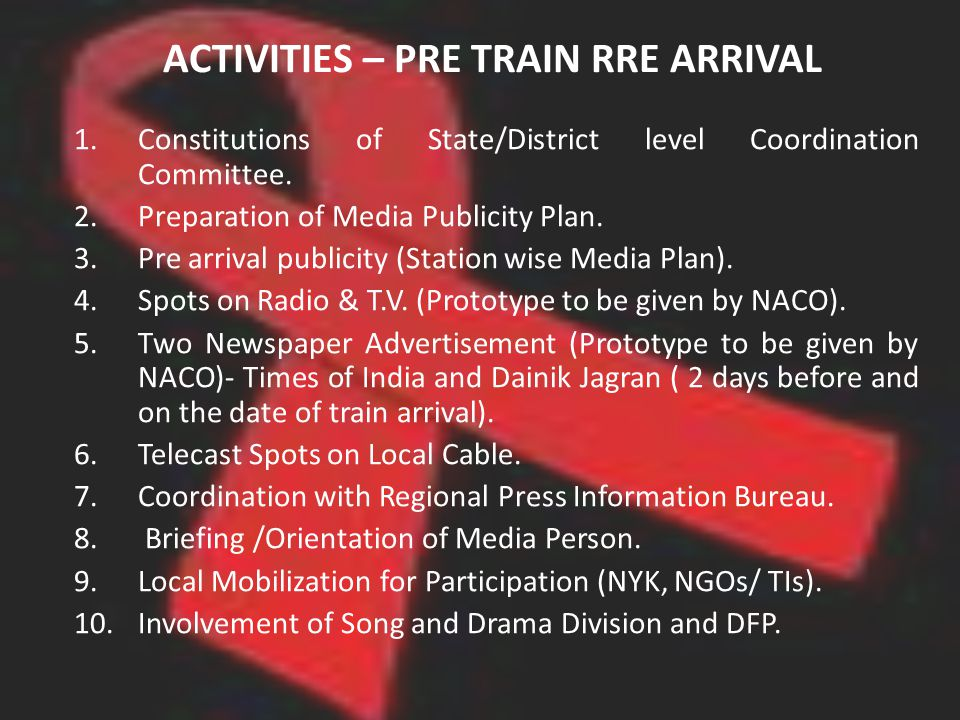 ACTIVITIES – PRE TRAIN RRE ARRIVAL 1.Constitutions of State/District level Coordination Committee. 2.Preparation of Media Publicity Plan. 3.Pre arriva