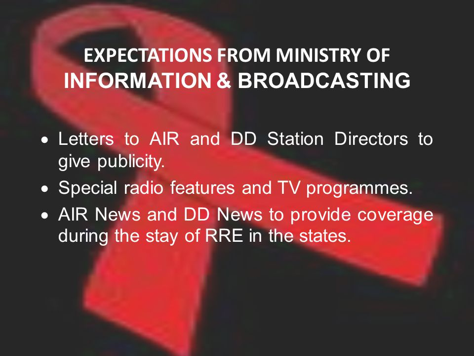 EXPECTATIONS FROM MINISTRY OF INFORMATION & BROADCASTING Letters to AIR and DD Station Directors to give publicity. Special radio features and TV prog