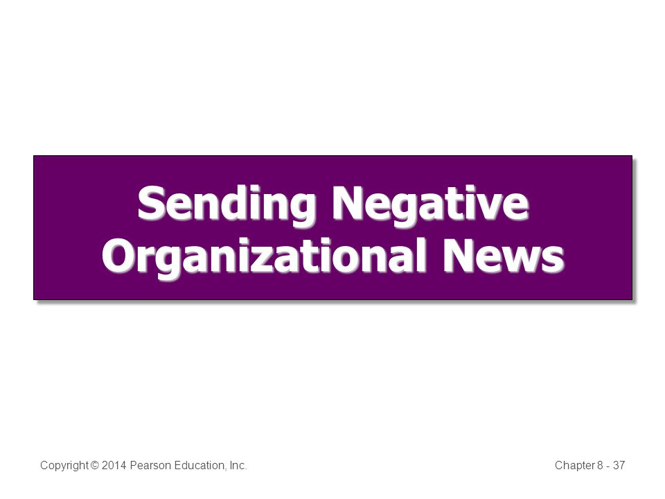 Sending Negative Organizational News Copyright © 2014 Pearson Education, Inc.Chapter 8 - 37