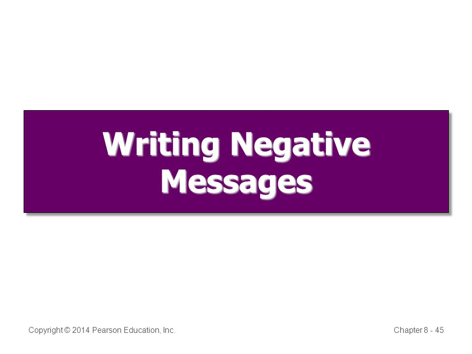 Copyright © 2014 Pearson Education, Inc.Chapter 8 - 45 Writing Negative Messages