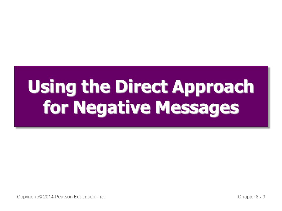 Using the Direct Approach for Negative Messages Copyright © 2014 Pearson Education, Inc.Chapter 8 - 9
