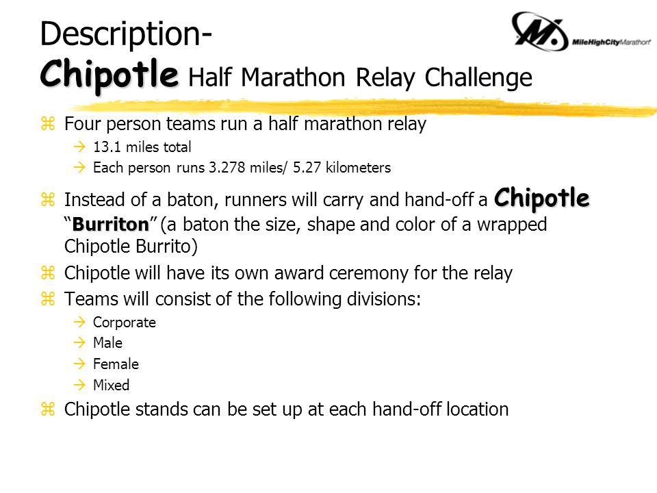 NEW CATEGORY… Chipotle NEW CATEGORY… Chipotle Half Marathon Relay Challenge