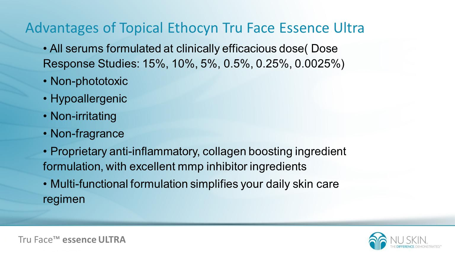 Advantages of Topical Ethocyn Tru Face Essence Ultra All serums formulated at clinically efficacious dose( Dose Response Studies: 15%, 10%, 5%, 0.5%,