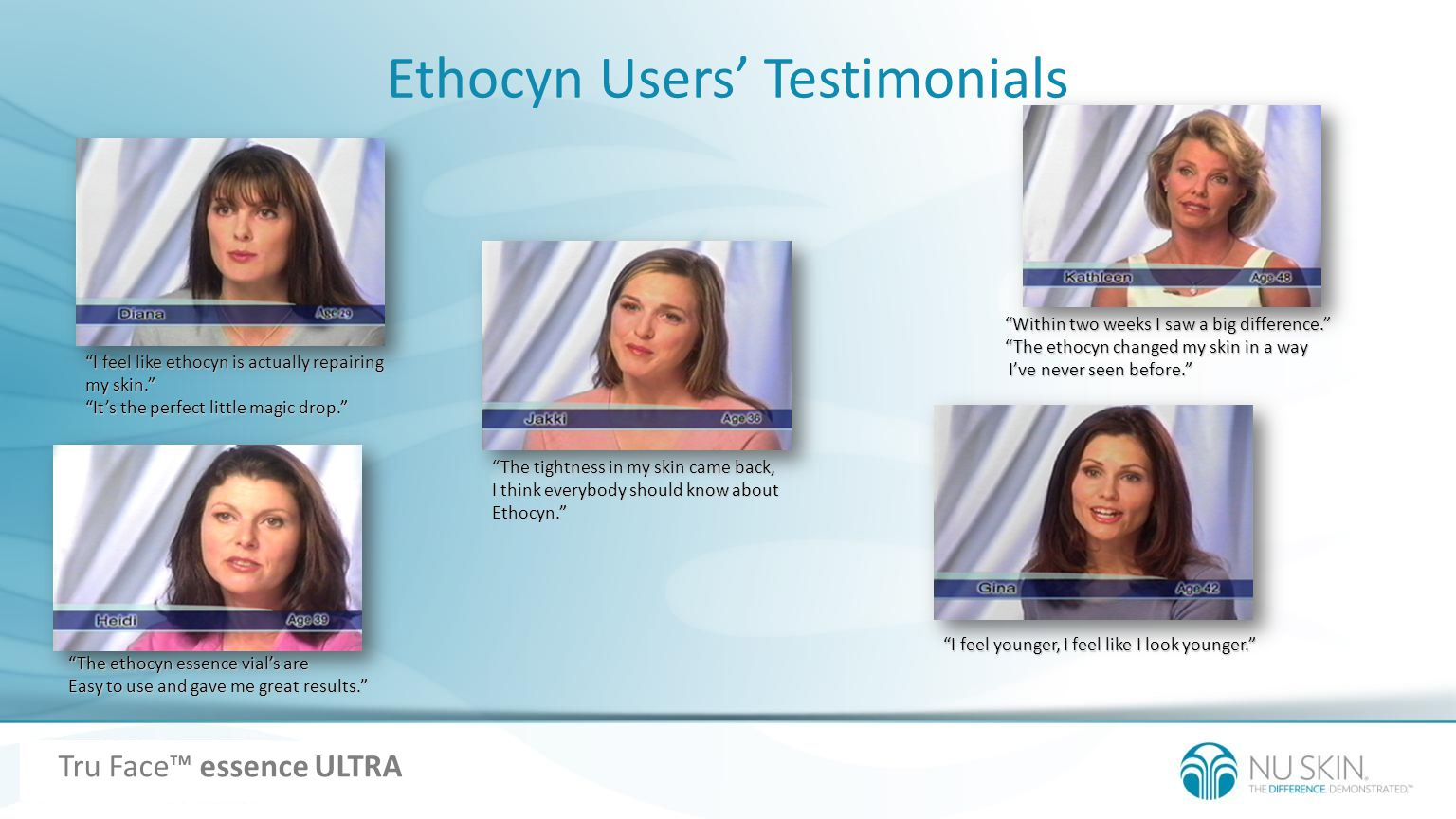 Ethocyn Users Testimonials I feel like ethocyn is actually repairing my skin. Its the perfect little magic drop. I feel younger, I feel like I look yo