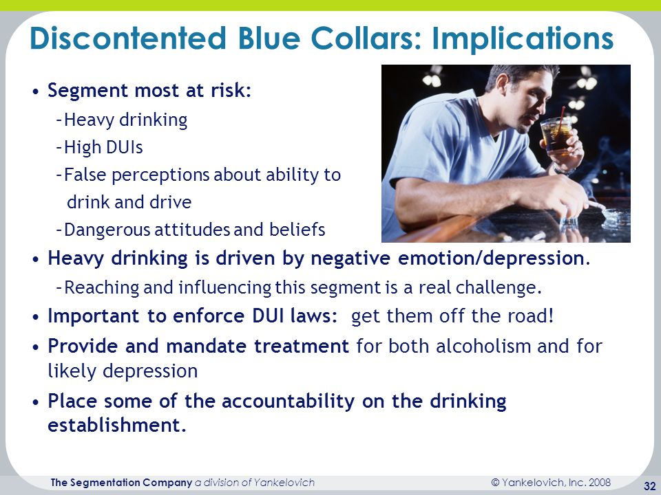 © Yankelovich, Inc. 2008 The Segmentation Company a division of Yankelovich 32 Discontented Blue Collars: Implications Segment most at risk: –Heavy dr