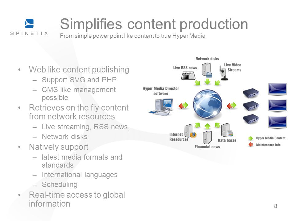 8 Simplifies content production From simple power point like content to true Hyper Media Web like content publishing –Support SVG and PHP –CMS like management possible Retrieves on the fly content from network resources –Live streaming, RSS news, –Network disks Natively support –latest media formats and standards –International languages –Scheduling Real-time access to global information