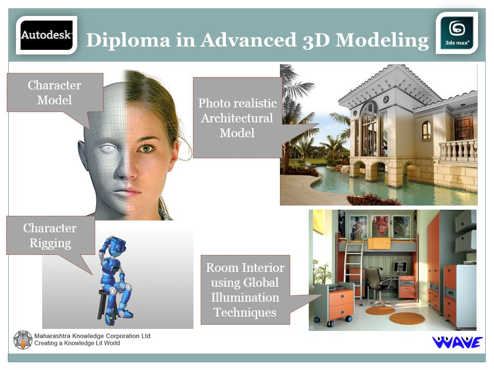 Diploma in Advanced 3D Modeling Character Model Character Rigging Photo realistic Architectural Model Room Interior using Global Illumination Techniques