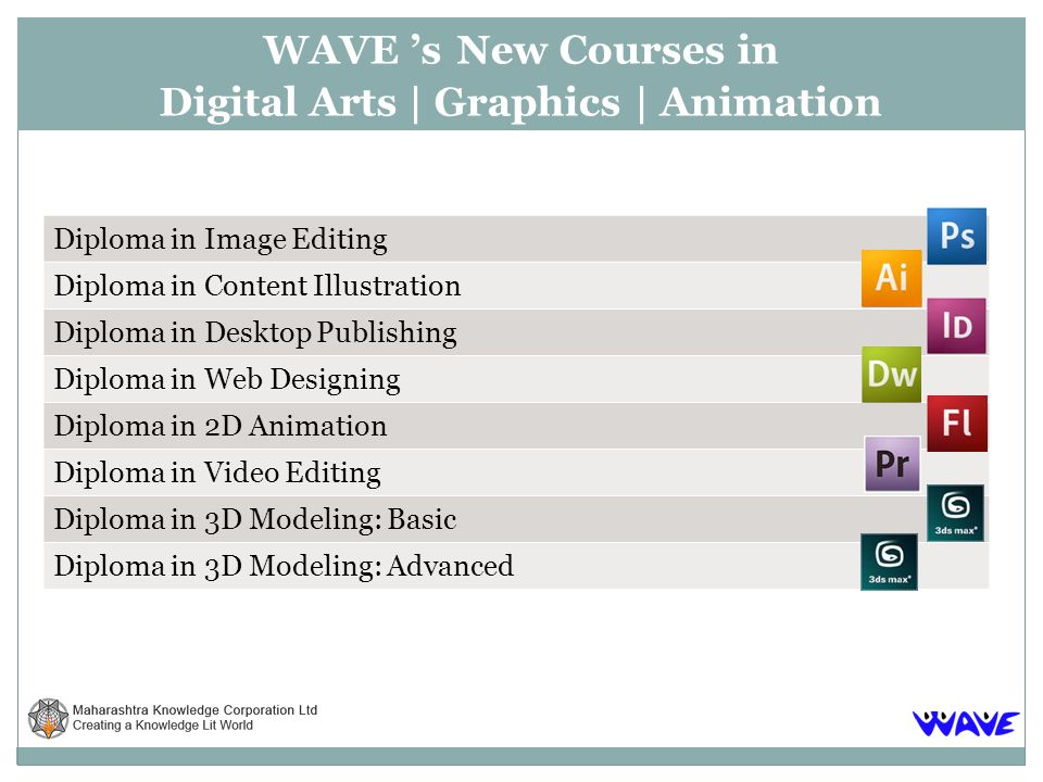 Please click here to view the detailed information http://www.mkcl.org/wave/flash EligibilityMS-CIT or Equivalent course in computer fundamentals, Photoshop CS4, Illustrator CS4 Job opportunity2D animator, Flash Web Page Designer, Interactive Multimedia Artist.