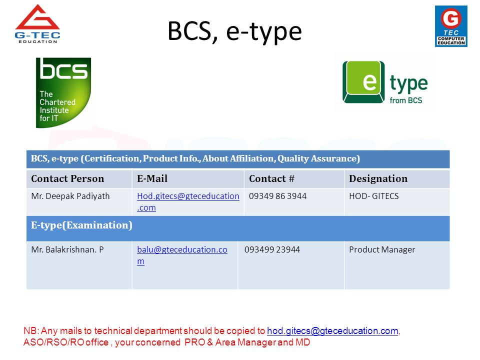 BCS, e-type (Certification, Product Info., About Affiliation, Quality Assurance) Contact PersonE-MailContact #Designation Mr. Deepak PadiyathHod.gitec