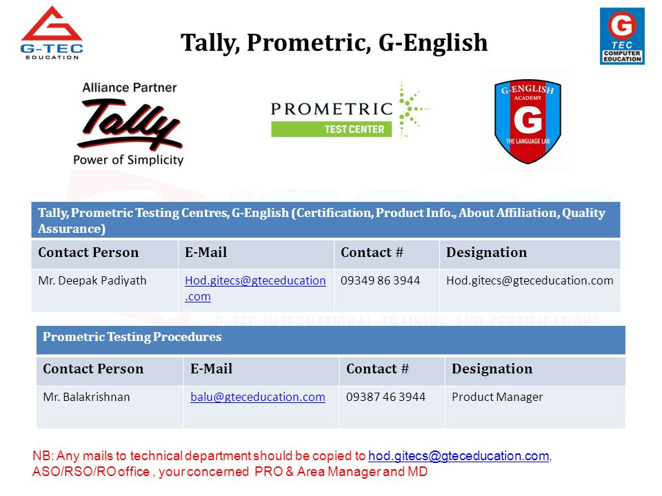 Tally, Prometric Testing Centres, G-English (Certification, Product Info., About Affiliation, Quality Assurance) Contact PersonE-MailContact #Designat