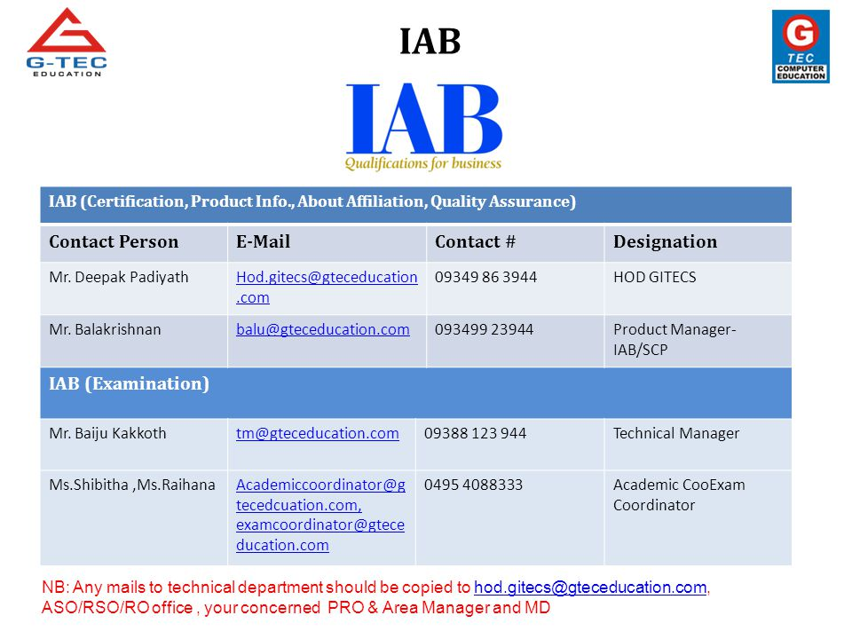 IAB (Certification, Product Info., About Affiliation, Quality Assurance) Contact PersonE-MailContact #Designation Mr. Deepak PadiyathHod.gitecs@gteced