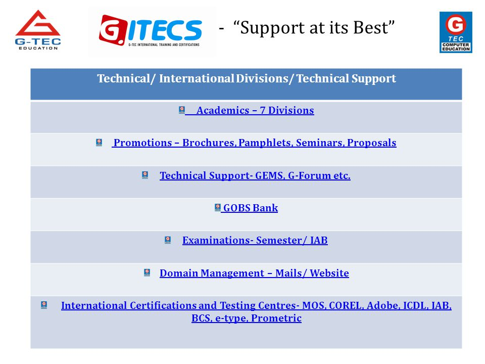 - Support at its Best Technical/ International Divisions/ Technical Support Academics – 7 Divisions Promotions – Brochures, Pamphlets, Seminars, Propo