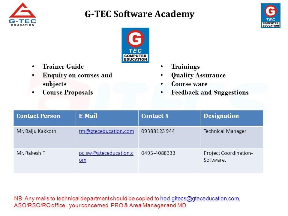 Contact PersonE-MailContact #Designation Mr. Baiju Kakkothtm@gteceducation.com09388123 944Technical Manager Mr. Rakesh Tpc.sw@gteceducation.c om 0495-