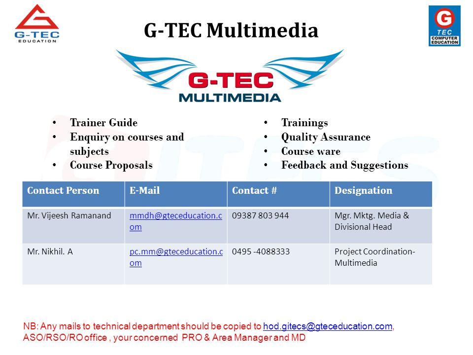 ICDL (Certification, Course Details, Module Details etc) Contact PersonE-MailContact #Designation Mr.