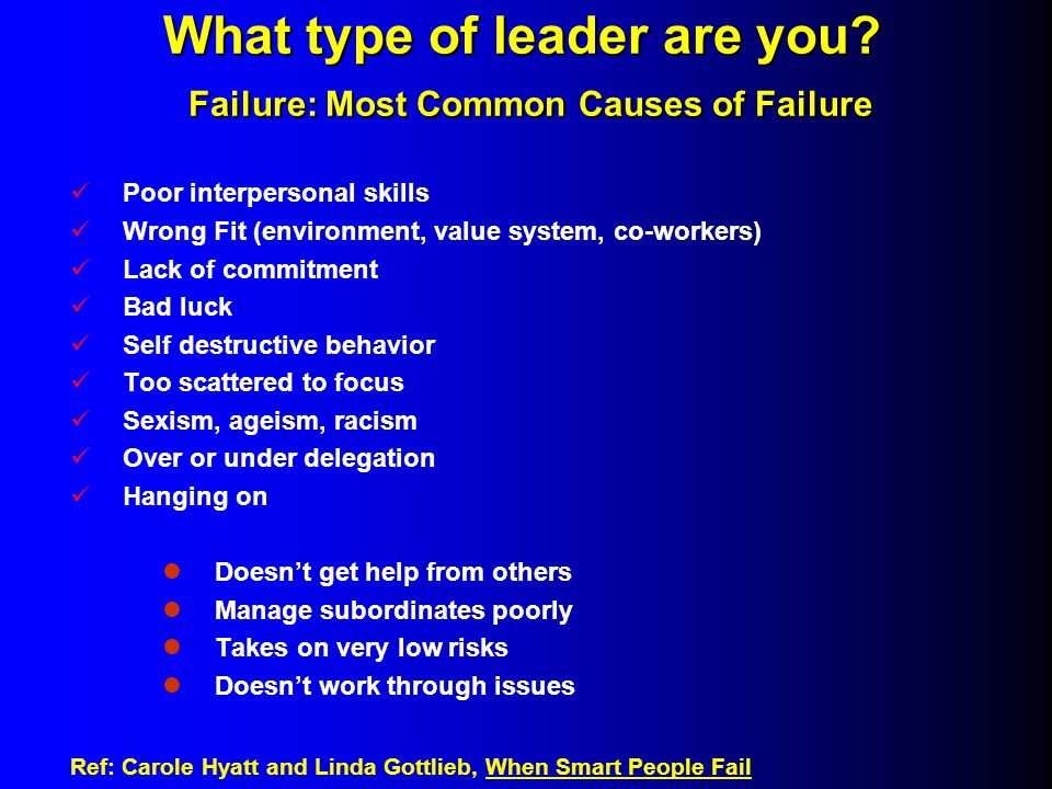 What type of leader are you. Failure: Most Common Causes of Failure What type of leader are you.