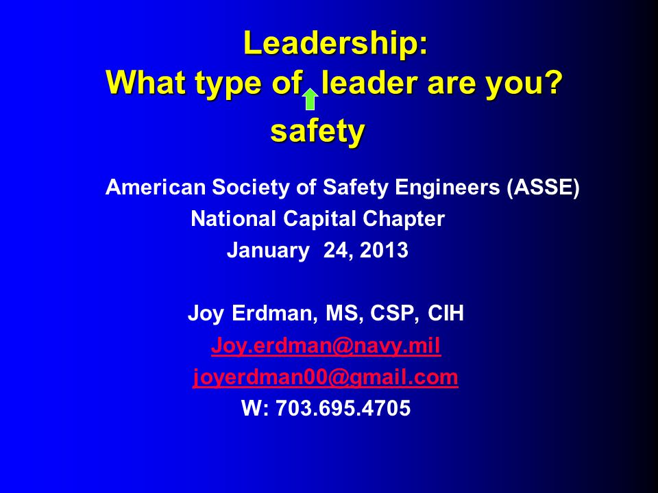 Leadership: What type of leader are you. safety Leadership: What type of leader are you.