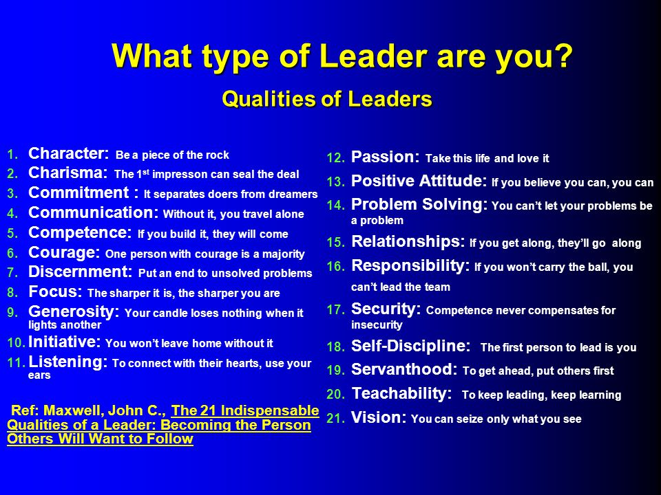 What type of Leader are you. Qualities of Leaders What type of Leader are you.