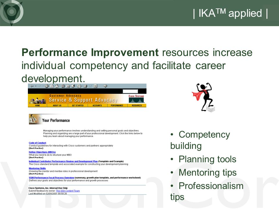VisionCor | IKA TM applied | Performance Improvement resources increase individual competency and facilitate career development.