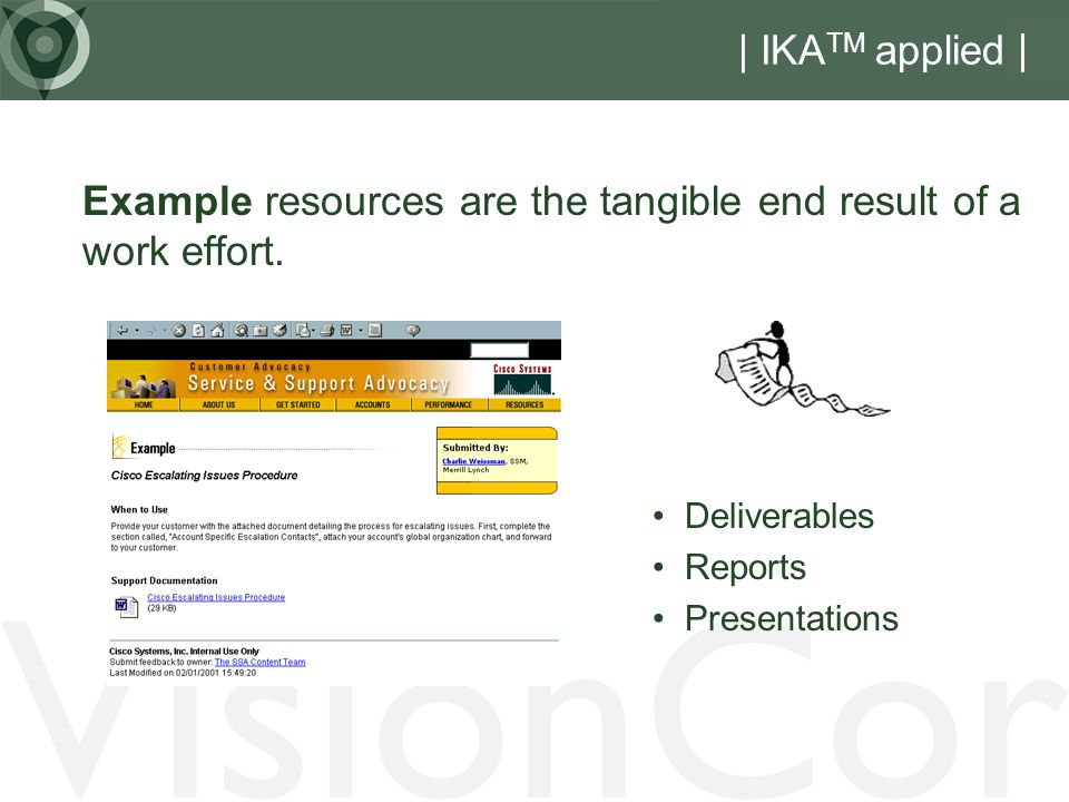 VisionCor | IKA TM applied | Example resources are the tangible end result of a work effort.