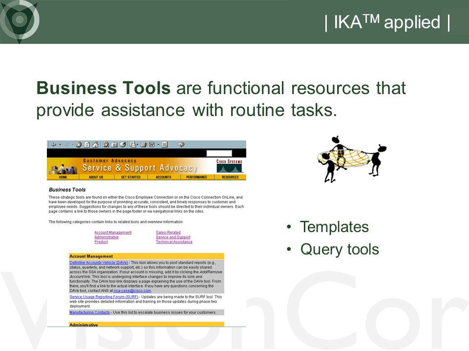 VisionCor | IKA TM applied | Business Tools are functional resources that provide assistance with routine tasks.