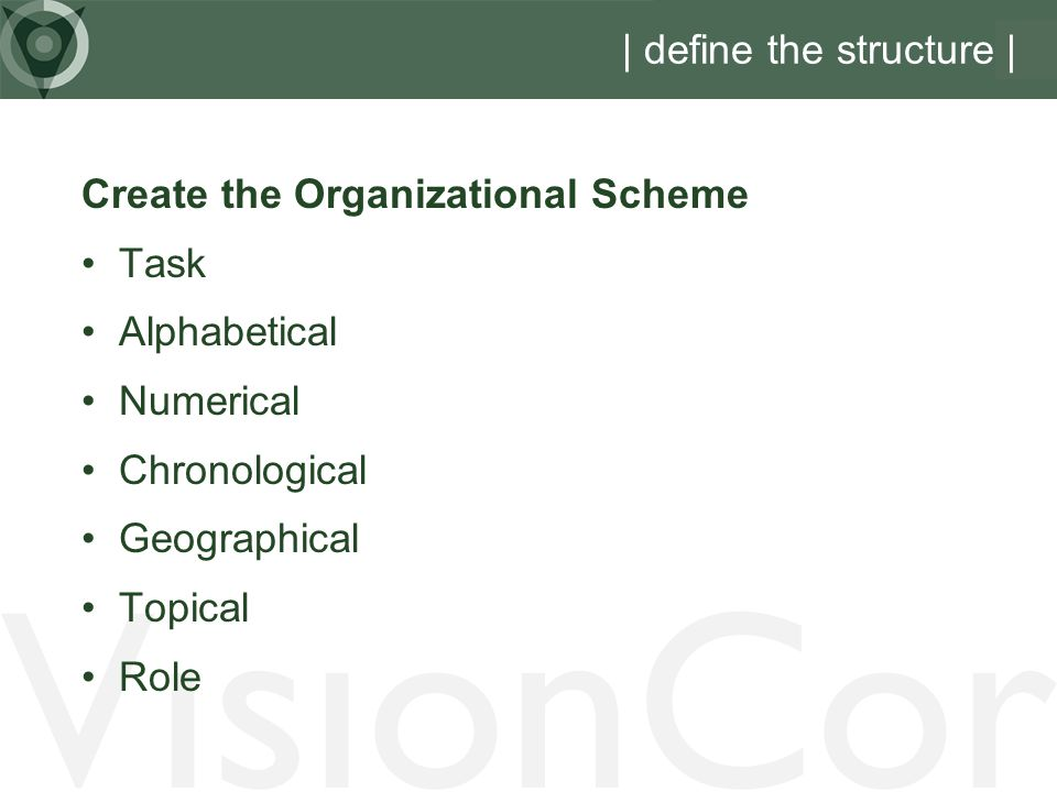 VisionCor | define the structure | Create the Organizational Scheme Task Alphabetical Numerical Chronological Geographical Topical Role