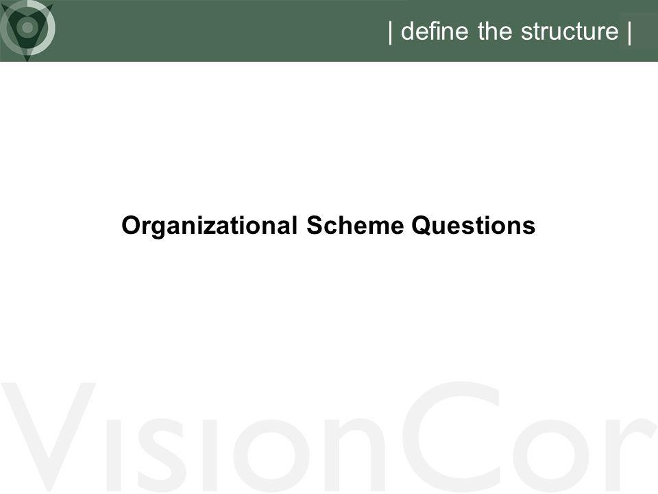 VisionCor | define the structure | Organizational Scheme Questions