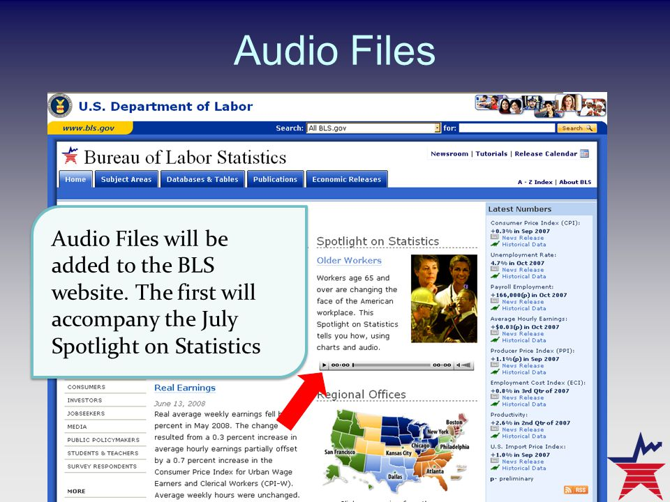Audio Files Audio Files will be added to the BLS website.