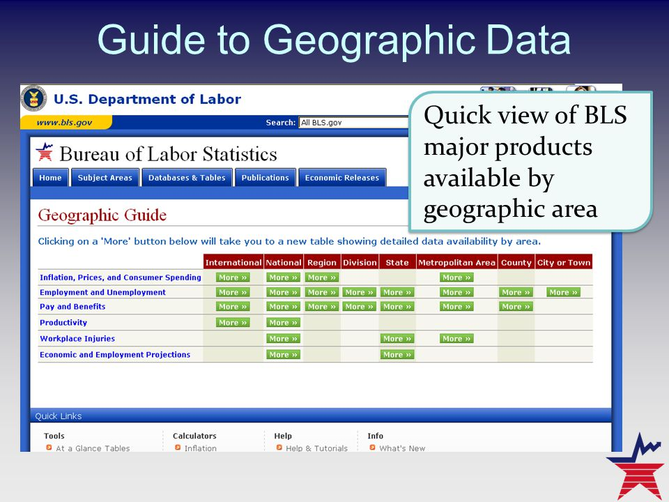 Guide to Geographic Data Quick view of BLS major products available by geographic area Quick view of BLS major products available by geographic area