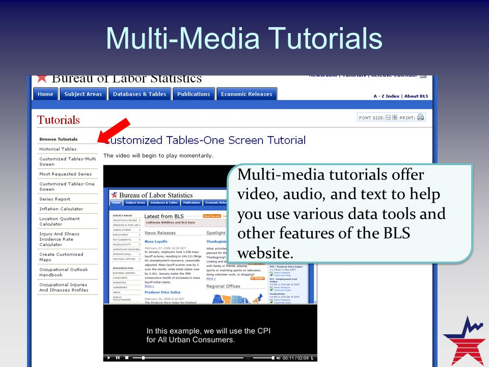 Multi-Media Tutorials Multi-media tutorials offer video, audio, and text to help you use various data tools and other features of the BLS website.