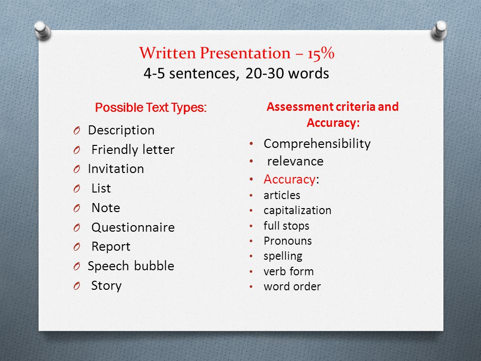 Written Presentation – 15% 4-5 sentences, 20-30 words Possible Text Types: Assessment criteria and Accuracy: O Description O Friendly letter O Invitat