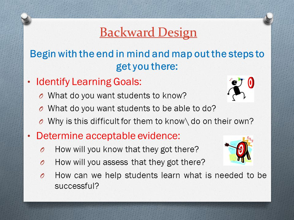 Backward Design Begin with the end in mind and map out the steps to get you there: Identify Learning Goals: O What do you want students to know? O Wha