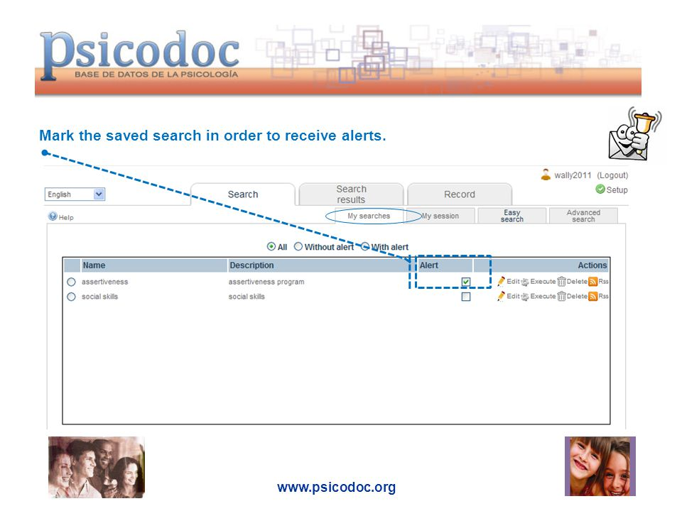 www.psicodoc.org Mark the saved search in order to receive alerts.