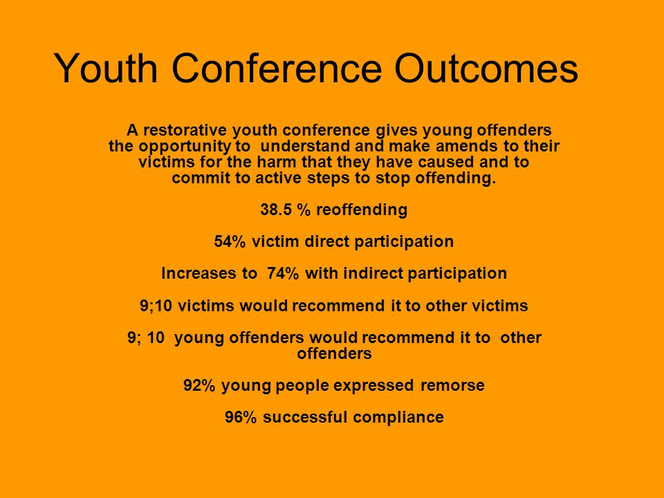 Youth Conference Outcomes A restorative youth conference gives young offenders the opportunity to understand and make amends to their victims for the harm that they have caused and to commit to active steps to stop offending.