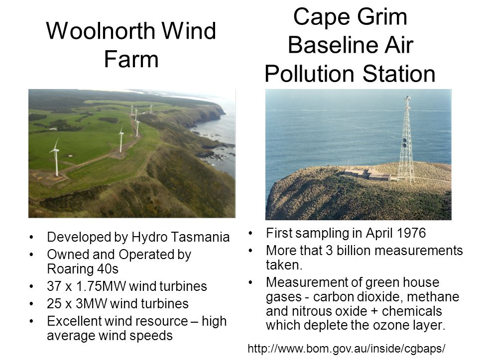 Woolnorth Wind Farm Developed by Hydro Tasmania Owned and Operated by Roaring 40s 37 x 1.75MW wind turbines 25 x 3MW wind turbines Excellent wind resource – high average wind speeds First sampling in April 1976 More that 3 billion measurements taken.