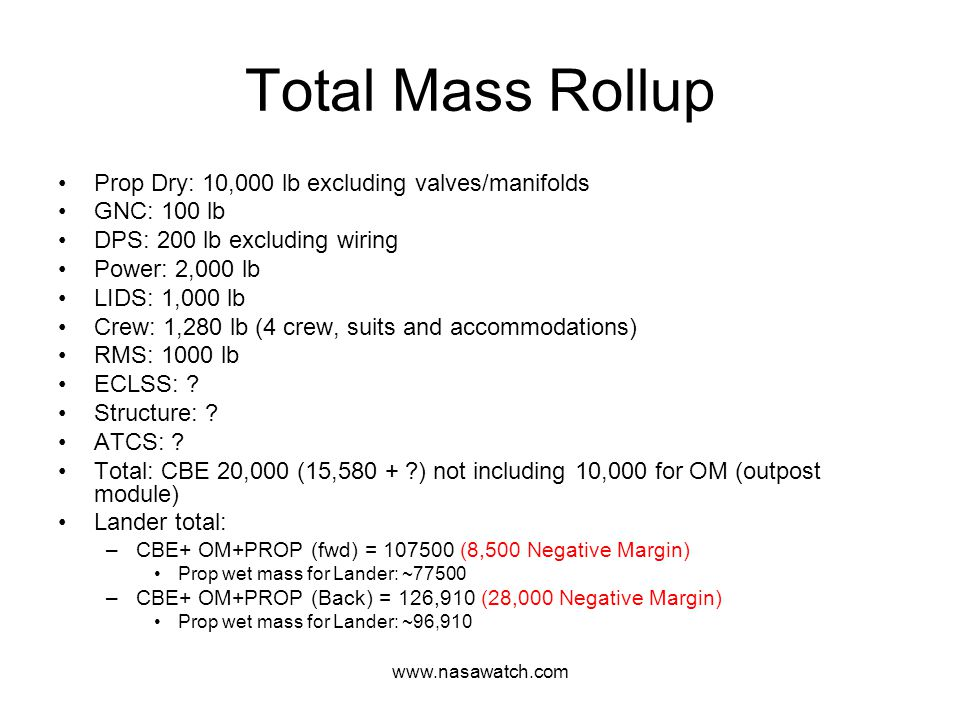 www.nasawatch.com Total Mass Rollup Prop Dry: 10,000 lb excluding valves/manifolds GNC: 100 lb DPS: 200 lb excluding wiring Power: 2,000 lb LIDS: 1,000 lb Crew: 1,280 lb (4 crew, suits and accommodations) RMS: 1000 lb ECLSS: .