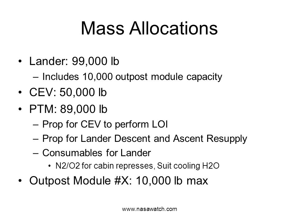 www.nasawatch.com Mass Allocations Lander: 99,000 lb –Includes 10,000 outpost module capacity CEV: 50,000 lb PTM: 89,000 lb –Prop for CEV to perform LOI –Prop for Lander Descent and Ascent Resupply –Consumables for Lander N2/O2 for cabin represses, Suit cooling H2O Outpost Module #X: 10,000 lb max