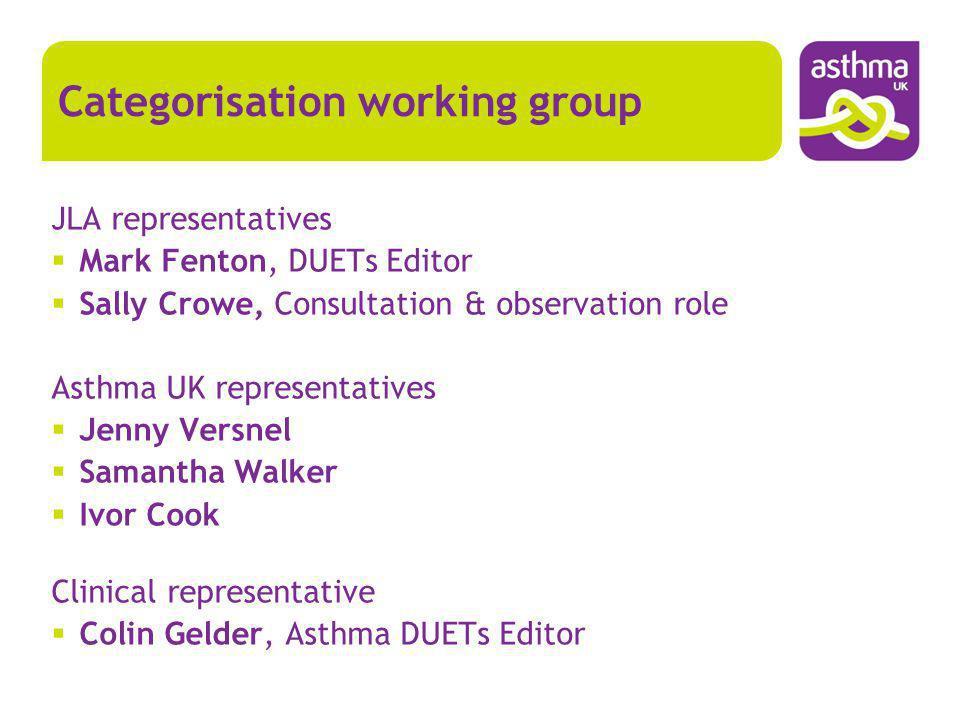 JLA representatives Mark Fenton, DUETs Editor Sally Crowe, Consultation & observation role Asthma UK representatives Jenny Versnel Samantha Walker Ivo