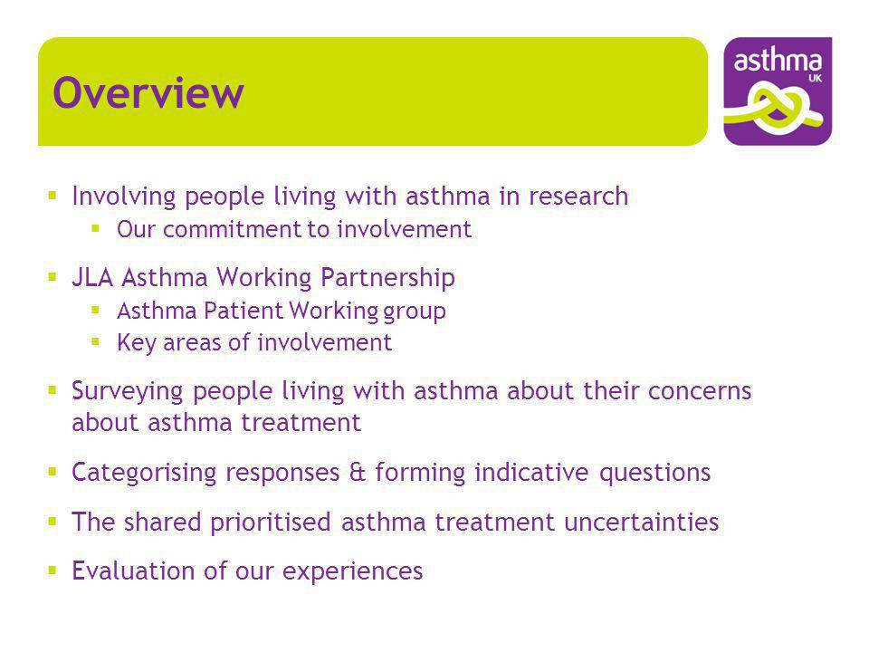 My experience as an Asthma representative (2) Importance of providing support Communications Email Meetings Teleconference Face to Face (eg formal meetings) Progress updates Planned well in advance (preparation and reflection) Use clear and jargon-free language Staff contact for queries and informal chats Materials Briefing documents Glossary of clinical & technical terms Medicines and treatments guide