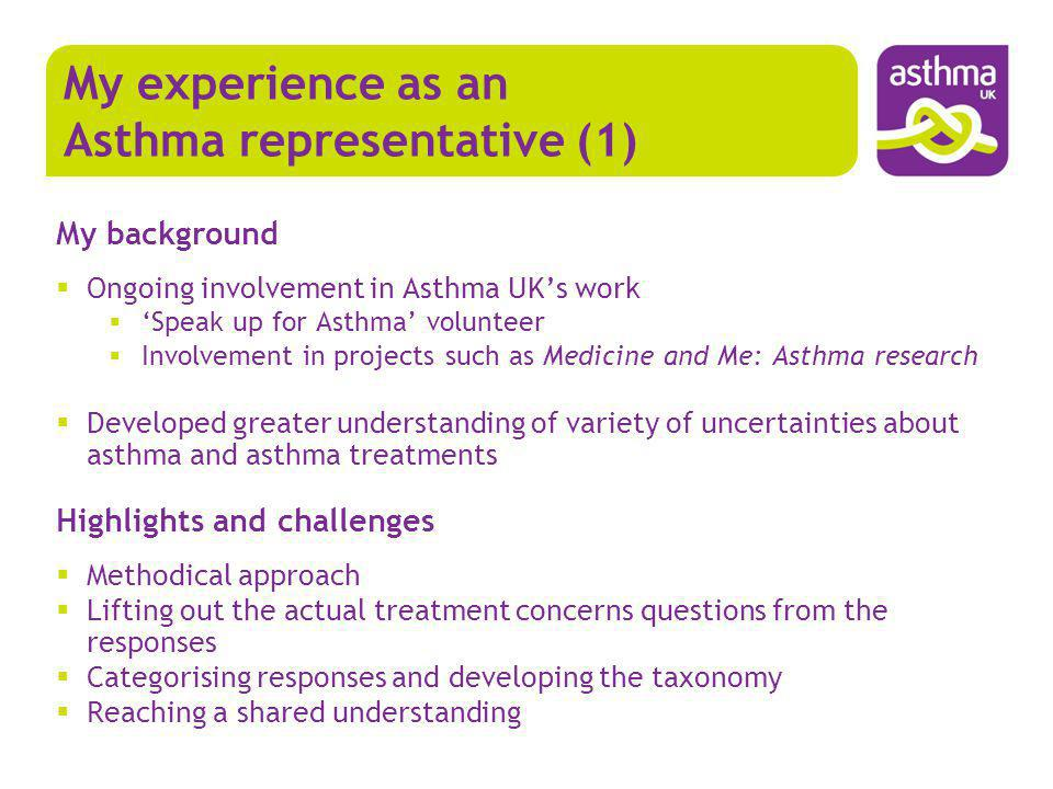 My background Ongoing involvement in Asthma UKs work Speak up for Asthma volunteer Involvement in projects such as Medicine and Me: Asthma research De